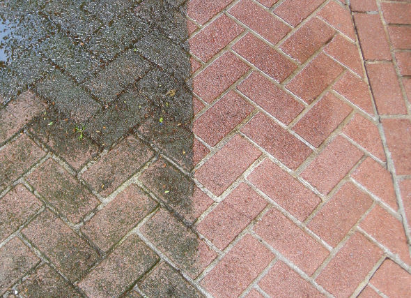 power washing bricks